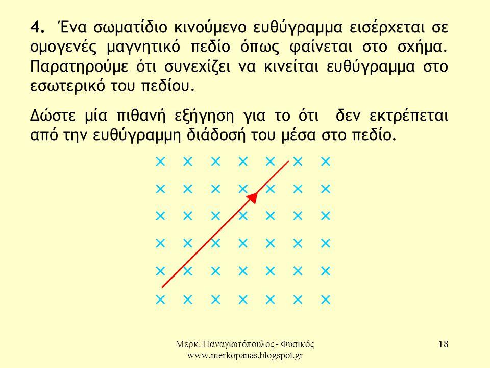 Μερκ. Παναγιωτόπουλος - Φυσικός www.merkopanas.blogspot.gr 18 4. Ένα σωματίδιο κινούμενο ευθύγραμμα εισέρχεται σε ομογενές μαγνητικό πεδίο όπως φαίνετ