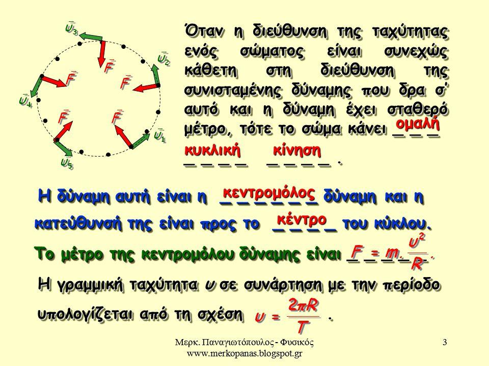 Μερκ. Παναγιωτόπουλος - Φυσικός www.merkopanas.blogspot.gr 3 3 Όταν η διεύθυνση της ταχύτητας ενός σώματος είναι συνεχώς κάθετη στη διεύθυνση της συνι