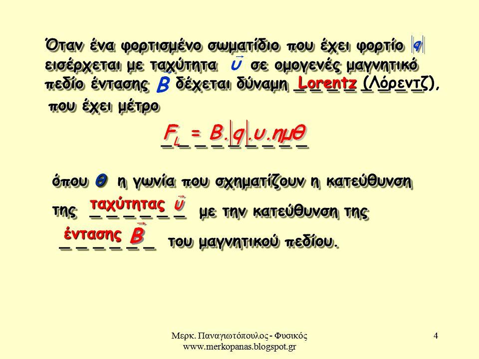 Μερκ. Παναγιωτόπουλος - Φυσικός www.merkopanas.blogspot.gr 4 4 που έχει μέτρο Lorentz (Λόρεντζ), όπου θ η γωνία που σχηματίζουν η κατεύθυνση της _ _ _