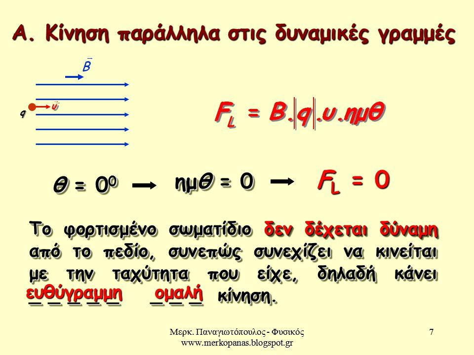 Μερκ. Παναγιωτόπουλος - Φυσικός www.merkopanas.blogspot.gr 7 7 Α. Κίνηση παράλληλα στις δυναμικές γραμμές θ = 0 0 ημθ = 0 F L = 0 Το φορτισμένο σωματί