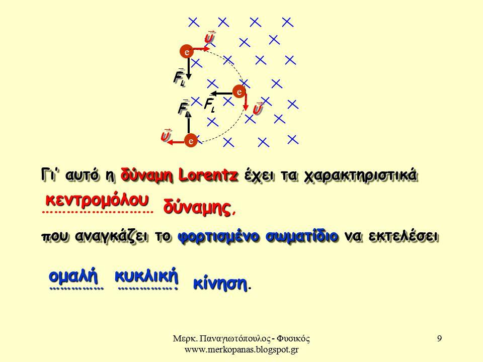Μερκ. Παναγιωτόπουλος - Φυσικός www.merkopanas.blogspot.gr 9 9 ομαλή κυκλική Γι' αυτό η δύναμη Lorentz έχει τα χαρακτηριστικά δύναμης ……………………… δύναμη