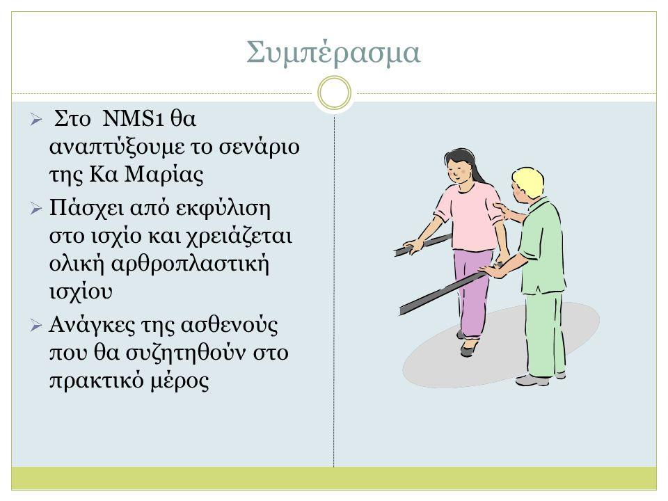 Συμπέρασμα  Στο NMS1 θα αναπτύξουμε το σενάριο της Κα Μαρίας  Πάσχει από εκφύλιση στο ισχίο και χρειάζεται ολική αρθροπλαστική ισχίου  Ανάγκες της ασθενούς που θα συζητηθούν στο πρακτικό μέρος