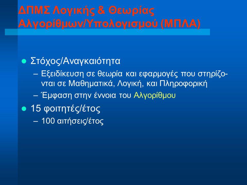 Στόχος/Αναγκαιότητα –Εξειδίκευση σε θεωρία και εφαρμογές που στηρίζο- νται σε Μαθηματικά, Λογική, και Πληροφορική –Έμφαση στην έννοια του Αλγορίθμου 1