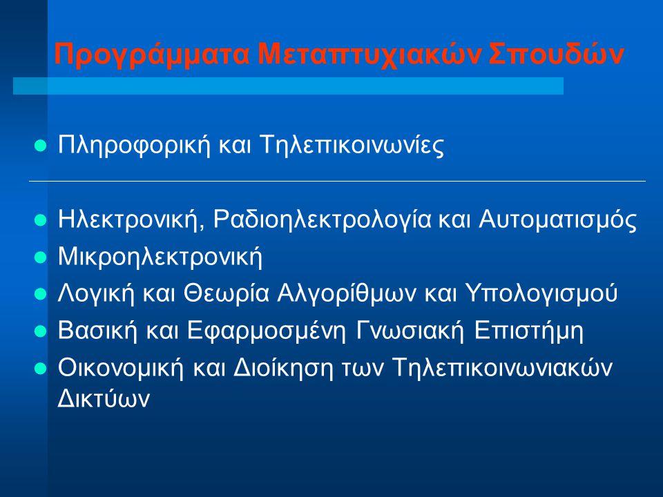 Προγράμματα Μεταπτυχιακών Σπουδών Πληροφορική & Τηλεπικοινωνίες Ηλεκτρονική Ραδιοηλεκτρολογία Αυτοματισμός Λογική & Θεωρία Αλγορίθμων/Υπολογισμού Μικροηλεκτρονική Οικονομική & Διοίκηση Τηλεπικοινωνιακών Δικτύων Γνωσιακή Επιστήμη 20031998 1993 1998 1997 1994 (1946,1972)