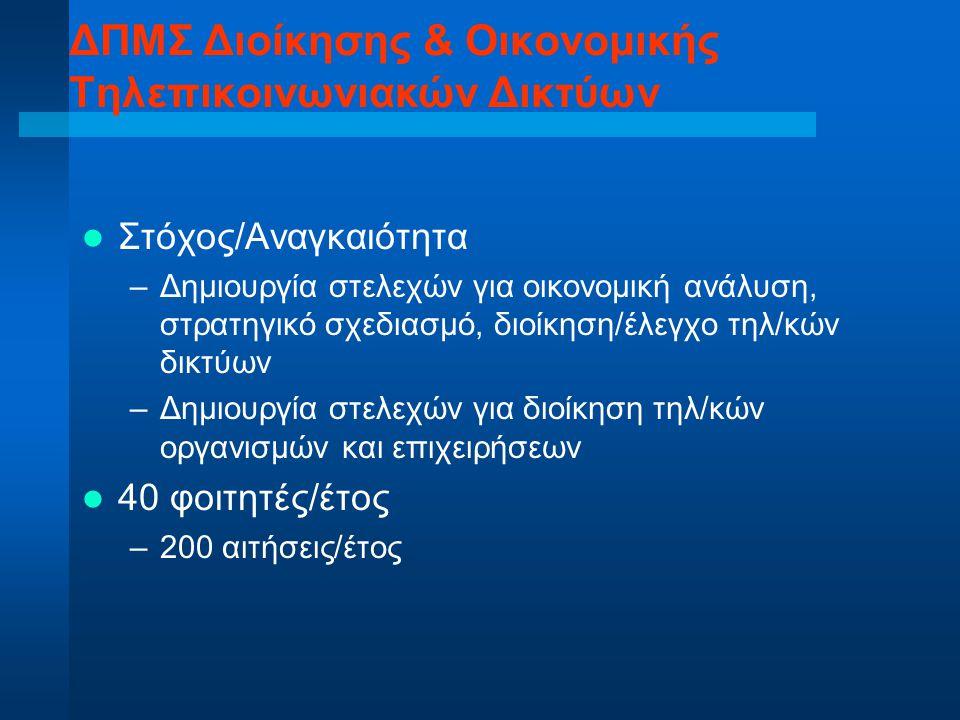ΔΠΜΣ Διοίκησης & Οικονομικής Τηλεπικοινωνιακών Δικτύων Στόχος/Αναγκαιότητα –Δημιουργία στελεχών για οικονομική ανάλυση, στρατηγικό σχεδιασμό, διοίκηση