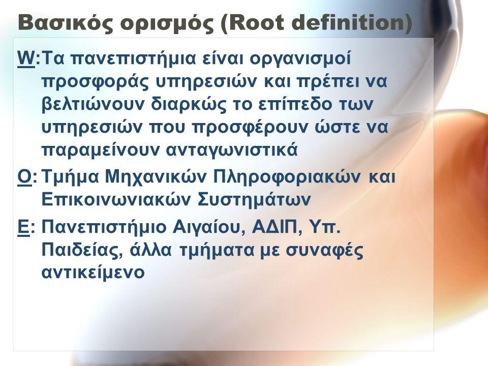 Βασικός ορισμός (Root definition) W:Τα πανεπιστήμια είναι οργανισμοί προσφοράς υπηρεσιών και πρέπει να βελτιώνουν διαρκώς το επίπεδο των υπηρεσιών που