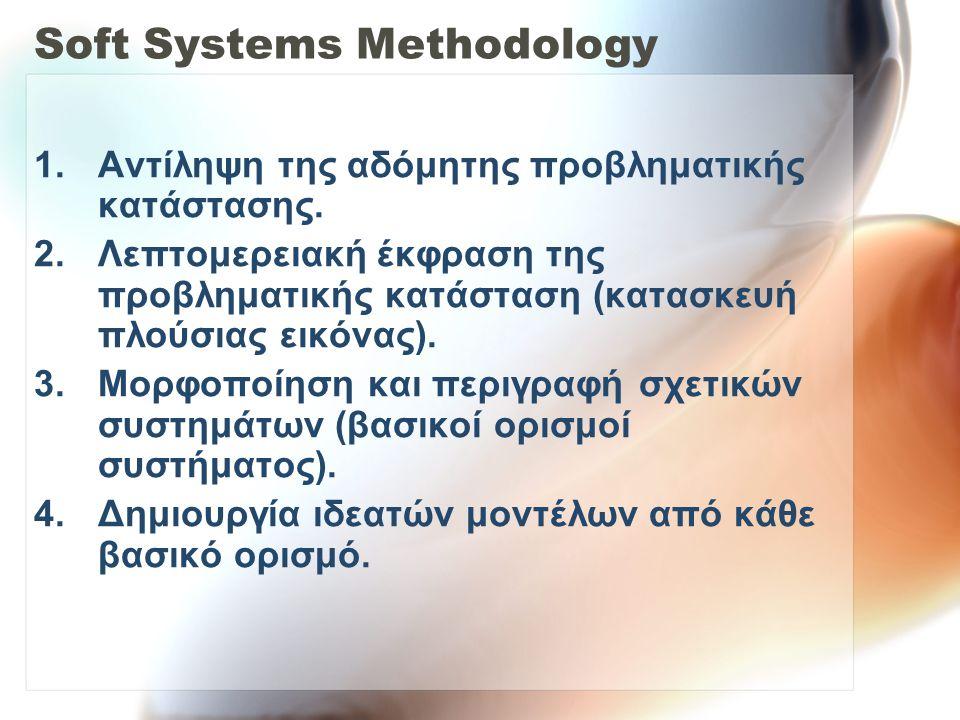 Soft Systems Methodology 5.Σύγκριση ιδεατών μοντέλων με την πραγματικότητα 6.Καθορισμός και συζήτηση πάνω στις επιθυμητές και σκόπιμες αλλαγές 7.Προσπάθεια για βελτίωση της προβληματικής κατάστασης (υλοποίησης αλλαγών)