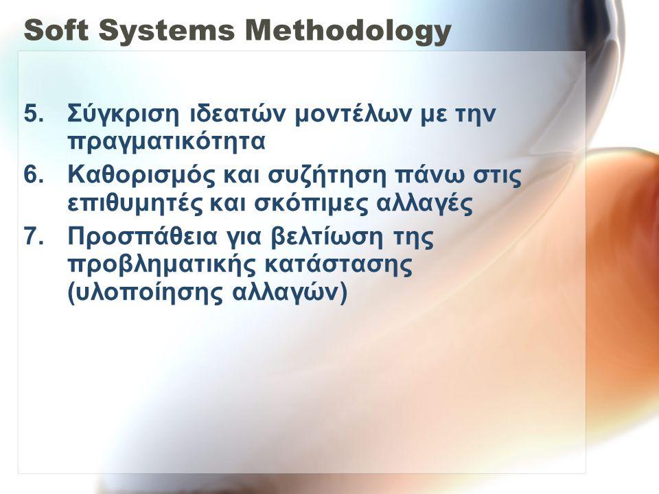Soft Systems Methodology 5.Σύγκριση ιδεατών μοντέλων με την πραγματικότητα 6.Καθορισμός και συζήτηση πάνω στις επιθυμητές και σκόπιμες αλλαγές 7.Προσπ