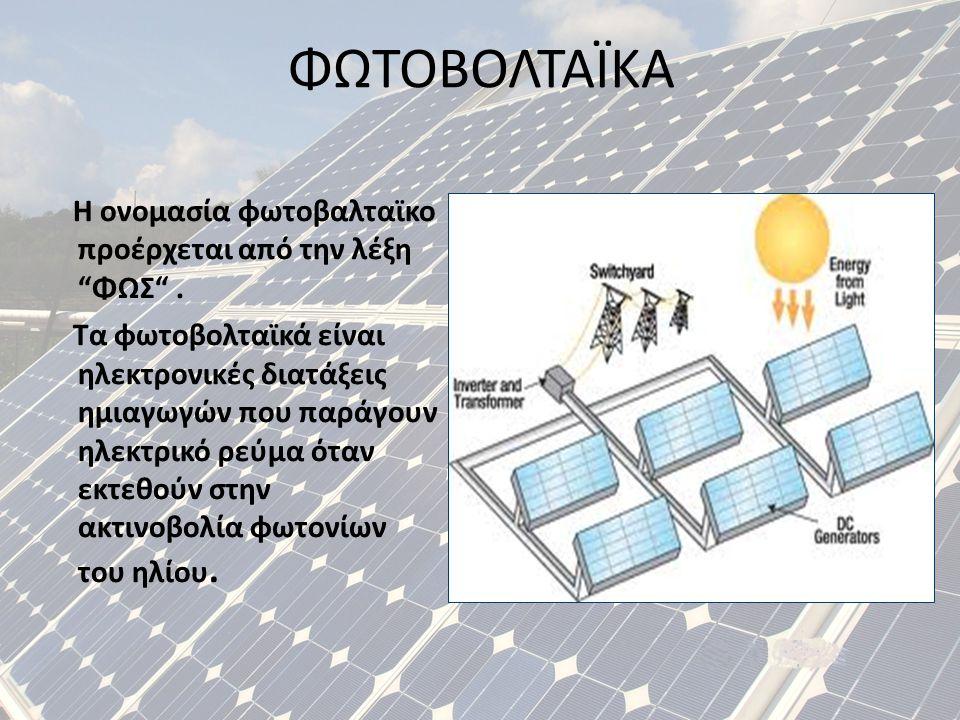 """ΦΩΤΟΒΟΛΤΑΪΚΑ Η ονομασία φωτοβαλταϊκο προέρχεται από την λέξη """" ΦΩΣ """". Τα φωτοβολταϊκά είναι ηλεκτρονικές διατάξεις ημιαγωγών που παράγουν ηλεκτρικό ρε"""