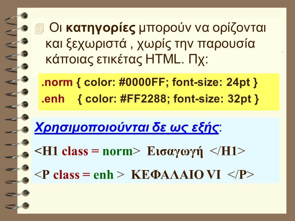 4 Οι κατηγορίες μπορούν να ορίζονται και ξεχωριστά, χωρίς την παρουσία κάποιας ετικέτας HTML.