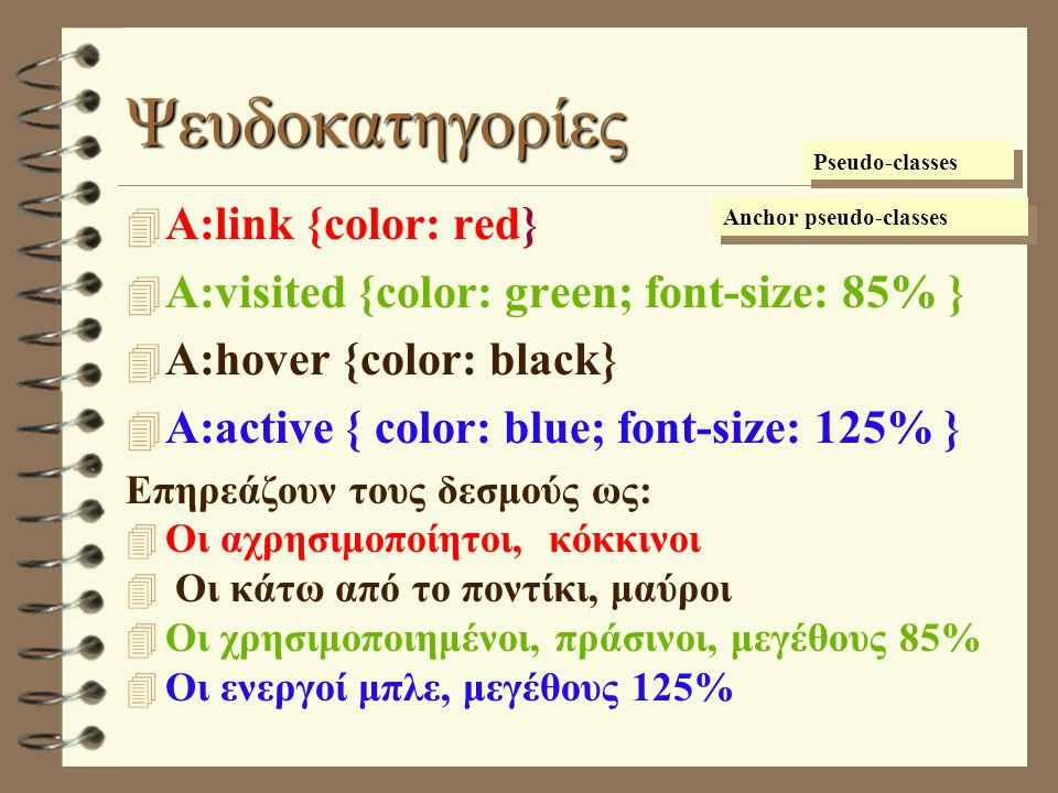 Ψευδοκατηγορίες 4 A:link {color: red} 4 A:visited {color: green; font-size: 85% } 4 A:hover {color: black} 4 A:active { color: blue; font-size: 125% }