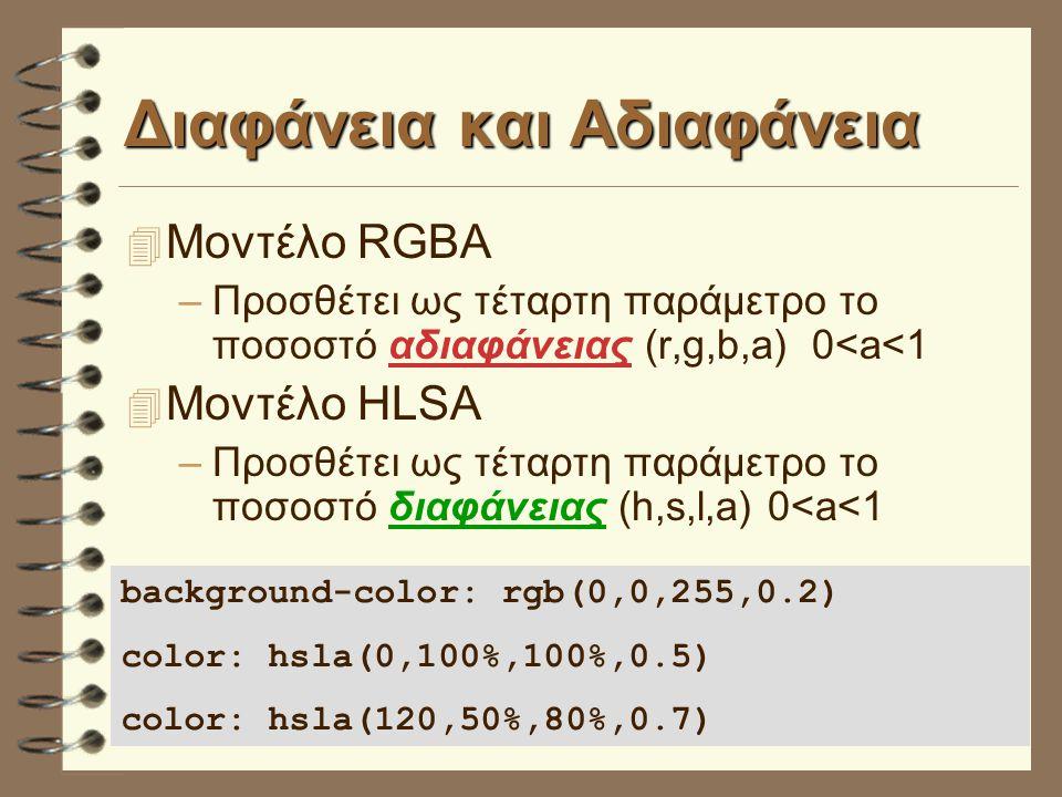 Διαφάνεια και Αδιαφάνεια 4 Μοντέλο RGBA –Προσθέτει ως τέταρτη παράμετρο το ποσοστό αδιαφάνειας (r,g,b,a) 0<a<1 4 Μοντέλο HLSA –Προσθέτει ως τέταρτη παράμετρο το ποσοστό διαφάνειας (h,s,l,a) 0<a<1 background-color: rgb(0,0,255,0.2) color: hsla(0,100%,100%,0.5) color: hsla(120,50%,80%,0.7)