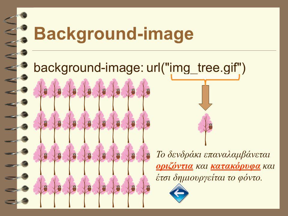 Background-image background-image: url( img_tree.gif ) Το δενδράκι επαναλαμβάνεται οριζόντια και κατακόρυφα και έτσι δημιουργείται το φόντο.