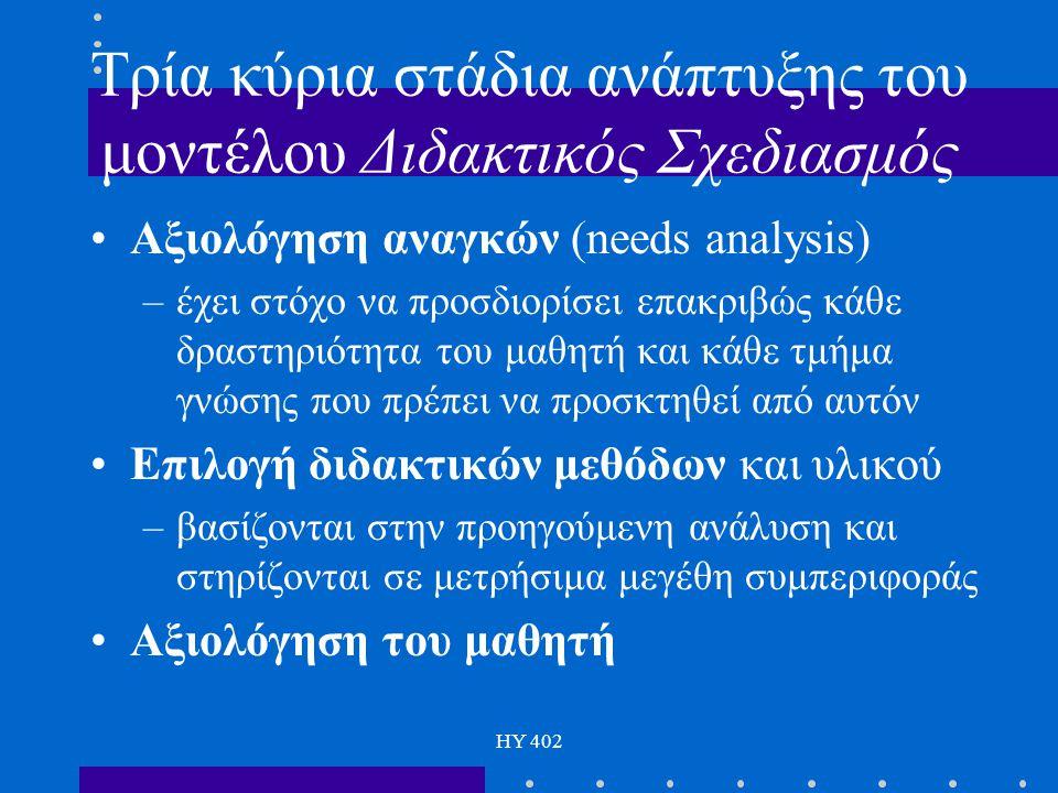 HY 402 Τρία κύρια στάδια ανάπτυξης του μοντέλου Διδακτικός Σχεδιασμός Αξιολόγηση αναγκών (needs analysis) –έχει στόχο να προσδιορίσει επακριβώς κάθε δ