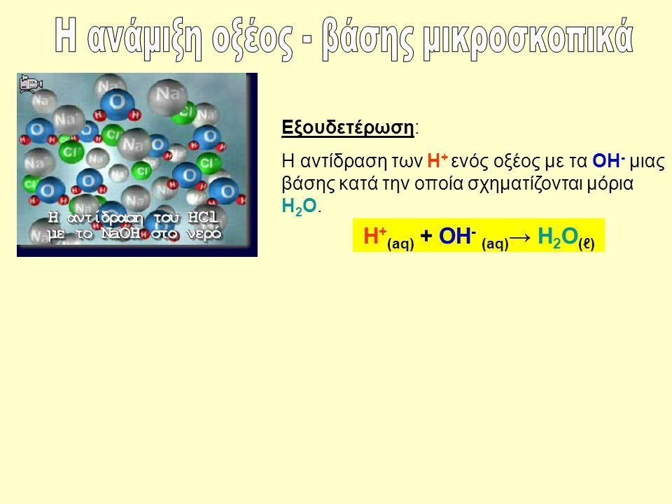 Εξουδετέρωση: Η αντίδραση των Η + ενός οξέος με τα ΟΗ - μιας βάσης κατά την οποία σχηματίζονται μόρια Η 2 Ο. Η + (aq) + ΟΗ - (aq) → Η 2 Ο (ℓ)