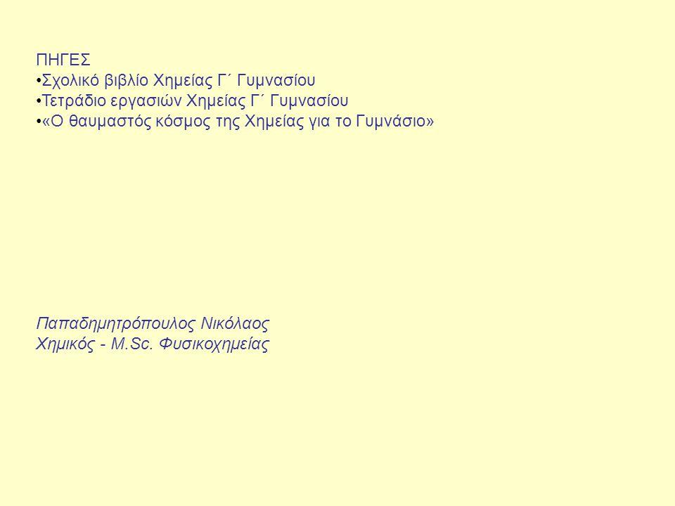 ΠΗΓΕΣ Σχολικό βιβλίο Χημείας Γ΄ Γυμνασίου Τετράδιο εργασιών Χημείας Γ΄ Γυμνασίου «Ο θαυμαστός κόσμος της Χημείας για το Γυμνάσιο» Παπαδημητρόπουλος Νικόλαος Χημικός - M.Sc.