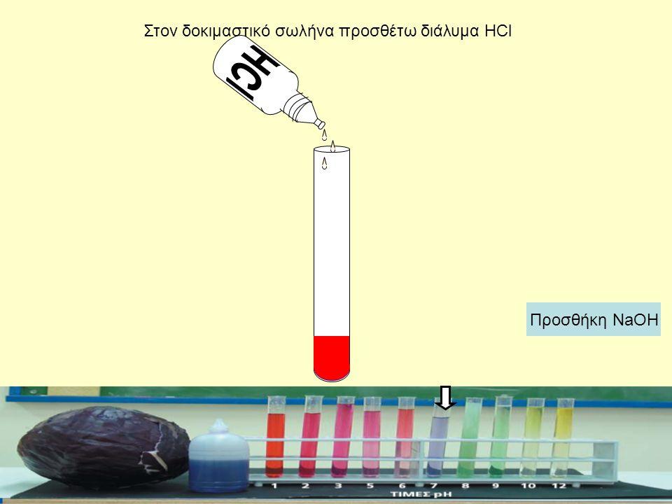 Στον δοκιμαστικό σωλήνα προσθέτω διάλυμα HCl Προσθήκη NaOH