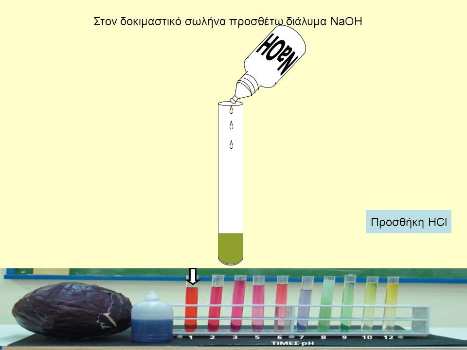 Στον δοκιμαστικό σωλήνα προσθέτω διάλυμα NaOH Προσθήκη HCl
