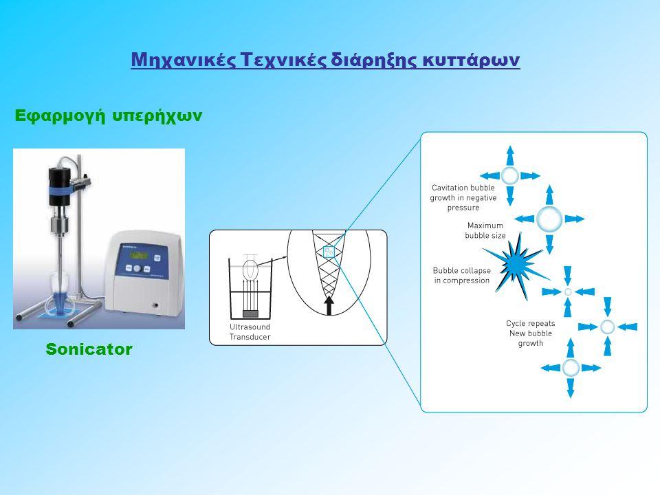 Μηχανικές Τεχνικές διάρηξης κυττάρων Εφαρμογή υπερήχων Sonicator