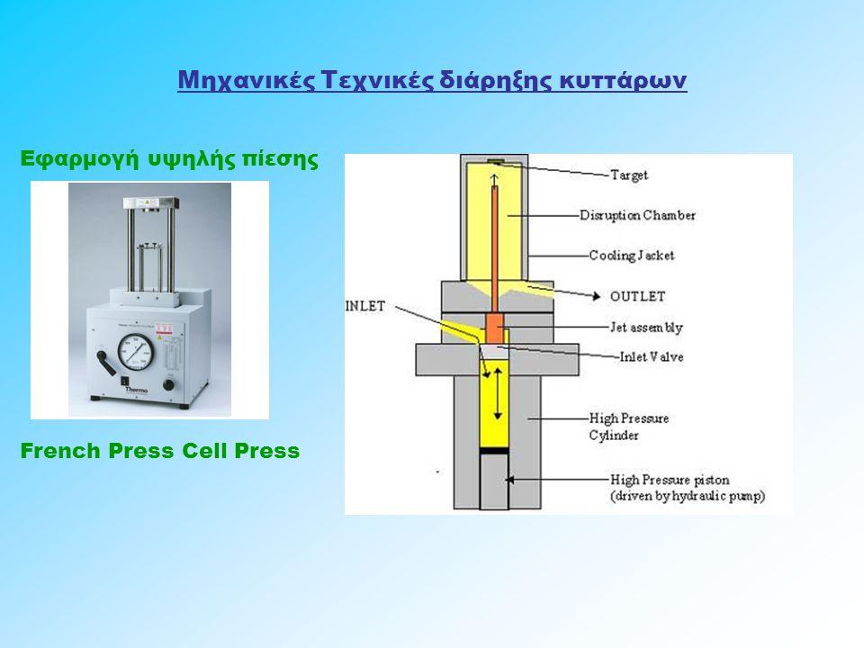 Μηχανικές Τεχνικές διάρηξης κυττάρων Εφαρμογή υψηλής πίεσης French Press Cell Press