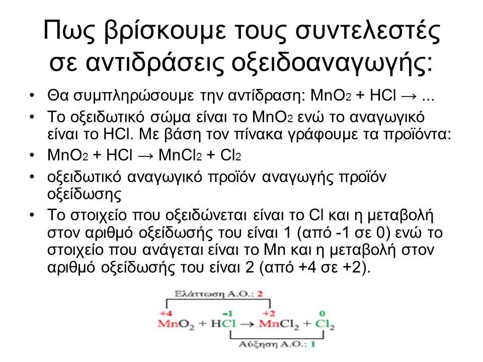 Πως βρίσκουμε τους συντελεστές σε αντιδράσεις οξειδοαναγωγής: Θα συµπληρώσουμε την αντίδραση: ΜnO 2 + HCl →... Το οξειδωτικό σώµα είναι το ΜnO 2 ενώ τ