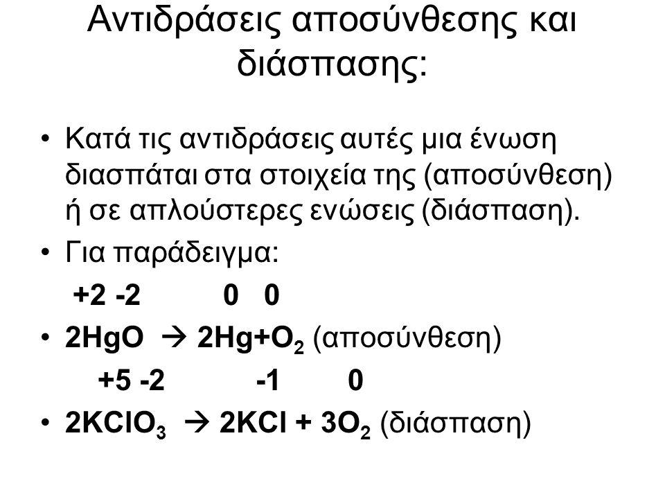 Αντιδράσεις αποσύνθεσης και διάσπασης: Κατά τις αντιδράσεις αυτές µια ένωση διασπάται στα στοιχεία της (αποσύνθεση) ή σε απλούστερες ενώσεις (διάσπαση