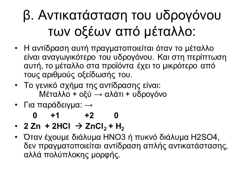 β. Αντικατάσταση του υδρογόνου των οξέων από µέταλλο: Η αντίδραση αυτή πραγµατοποιείται όταν το µέταλλο είναι αναγωγικότερο του υδρογόνου. Και στη περ