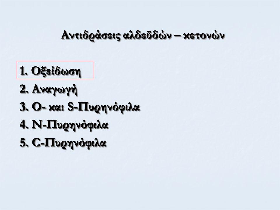 Αντιδράσεις αλδεϋδών – κετονών 1. Οξείδωση 2. Αναγωγή 3.