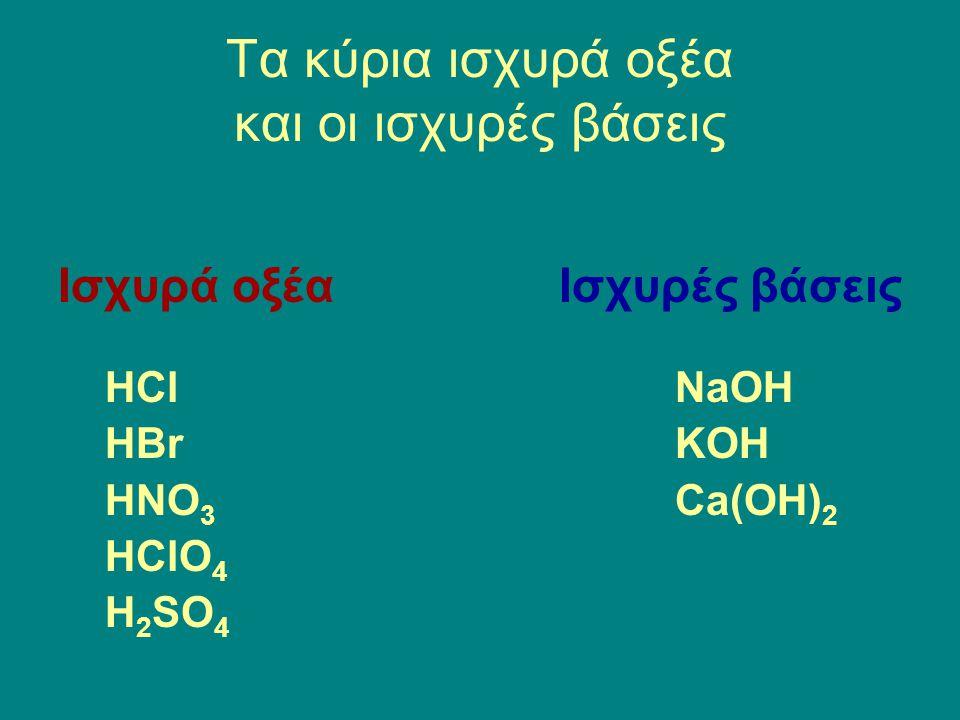 Τα κύρια ισχυρά οξέα και οι ισχυρές βάσεις Ισχυρά οξέα HCl HBr HNO 3 HClO 4 H 2 SO 4 Ισχυρές βάσεις NaOH KOH Ca(OH) 2