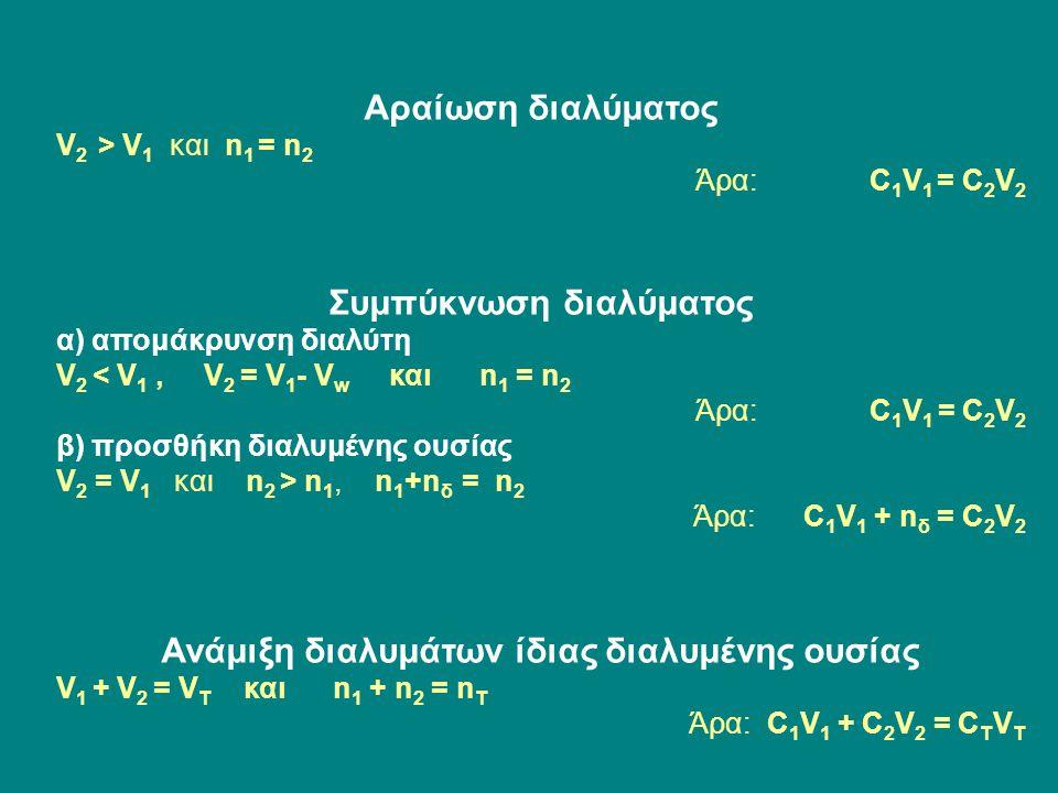Αραίωση διαλύματος V 2 > V 1 και n 1 = n 2 Άρα: C 1 V 1 = C 2 V 2 Συμπύκνωση διαλύματος α) απομάκρυνση διαλύτη V 2 < V 1, V 2 = V 1 - V w και n 1 = n 2 Άρα: C 1 V 1 = C 2 V 2 β) προσθήκη διαλυμένης ουσίας V 2 = V 1 και n 2 > n 1, n 1 +n δ = n 2 Άρα: C 1 V 1 + n δ = C 2 V 2 Ανάμιξη διαλυμάτων ίδιας διαλυμένης ουσίας V 1 + V 2 = V T και n 1 + n 2 = n T Άρα: C 1 V 1 + C 2 V 2 = C T V T