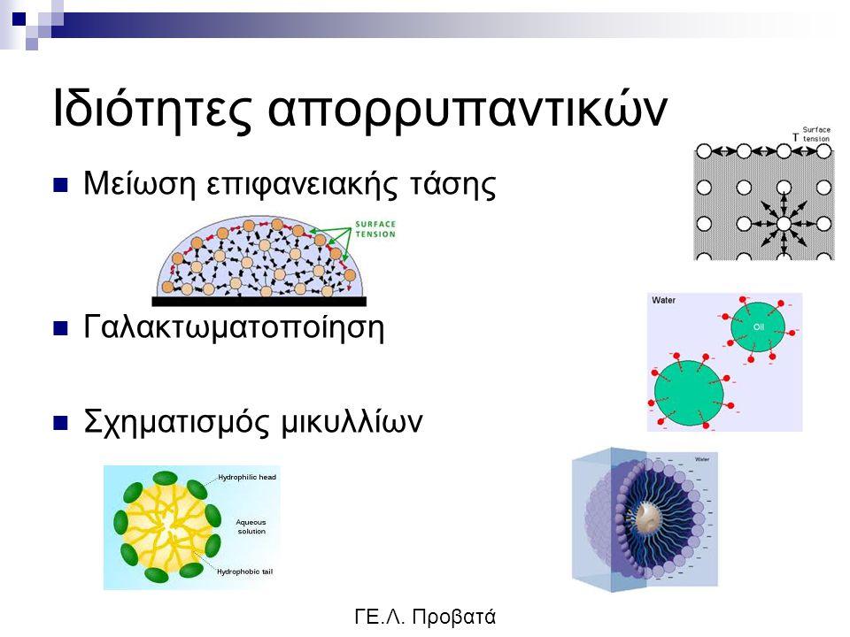 Ιδιότητες απορρυπαντικών Μείωση επιφανειακής τάσης Γαλακτωματοποίηση Σχηματισμός μικυλλίων ΓΕ.Λ. Προβατά