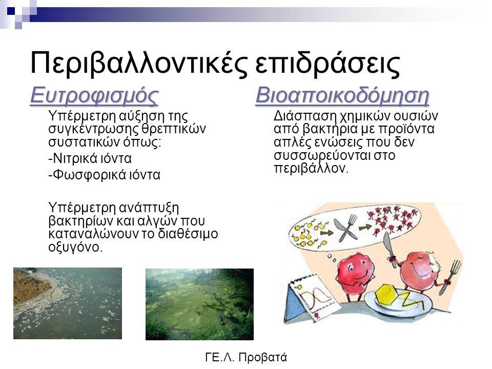 Περιβαλλοντικές επιδράσεις Ευτροφισμός Υπέρμετρη αύξηση της συγκέντρωσης θρεπτικών συστατικών όπως: -Νιτρικά ιόντα -Φωσφορικά ιόντα Υπέρμετρη ανάπτυξη