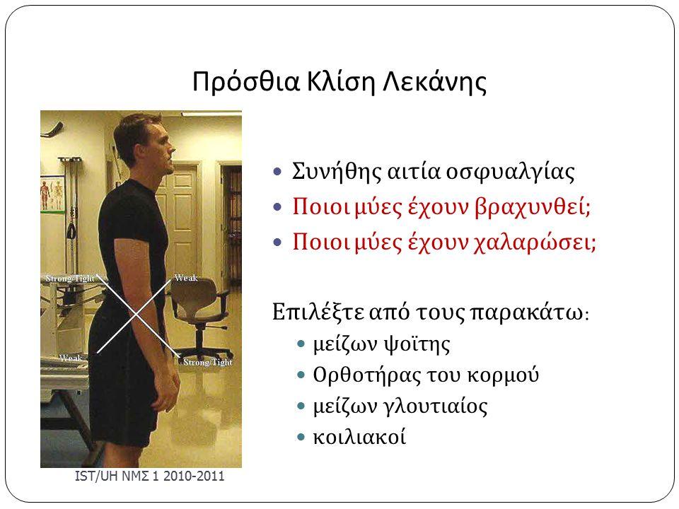 Πρόσθια Κλίση Λεκάνης Συνήθης αιτία οσφυαλγίας Ποιοι μύες έχουν βραχυνθεί ; Ποιοι μύες έχουν χαλαρώσει ; Επιλέξτε από τους παρακάτω : μείζων ψοϊτης Ορθοτήρας του κορμού μείζων γλουτιαίος κοιλιακοί IST/U Η ΝΜΣ 1 2010-2011