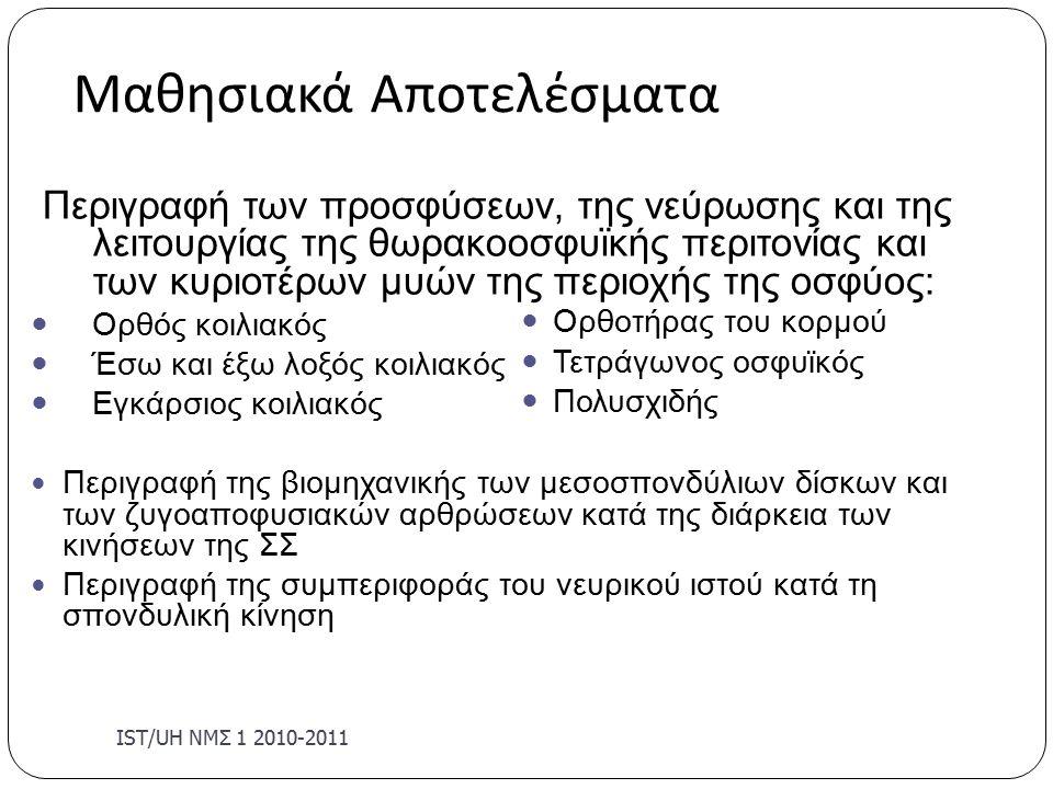 Μαθησιακά Αποτελέσματα IST/U Η ΝΜΣ 1 2010-2011 Περιγραφή των προσφύσεων, της νεύρωσης και της λειτουργίας της θωρακοοσφυϊκής περιτονίας και των κυριοτέρων μυών της περιοχής της οσφύος: Ορθός κοιλιακός Έσω και έξω λοξός κοιλιακός Εγκάρσιος κοιλιακός Περιγραφή της βιομηχανικής των μεσοσπονδύλιων δίσκων και των ζυγοαποφυσιακών αρθρώσεων κατά της διάρκεια των κινήσεων της ΣΣ Περιγραφή της συμπεριφοράς του νευρικού ιστού κατά τη σπονδυλική κίνηση Ορθοτήρας του κορμού Τετράγωνος οσφυϊκός Πολυσχιδής