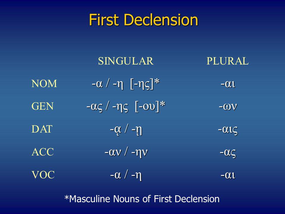 First Declension SINGULARPLURAL -α / -η [-ης]*-αι NOM -α / -η [-ης]*-αι -ας / -ης [-ου]*-ων GEN -ας / -ης [-ου]*-ων - ᾳ / - ῃ -αις DAT - ᾳ / - ῃ -αις -αν / -ην-ας ACC -αν / -ην-ας -α / -η-αι VOC -α / -η-αι *Masculine Nouns of First Declension