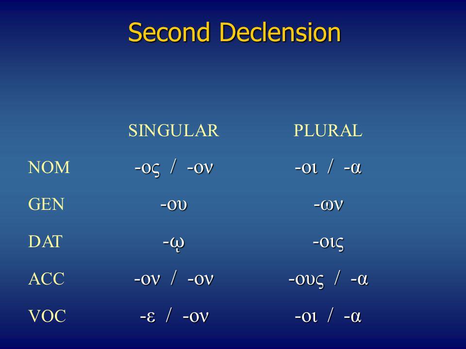 Second Declension SINGULARPLURAL -ος / -ον-οι / -α NOM -ος / -ον-οι / -α -ου-ων GEN -ου-ων - ῳ -οις DAT - ῳ -οις -ον / -ον-ους / -α ACC -ον / -ον-ους / -α -ε / -ον-οι / -α VOC -ε / -ον-οι / -α