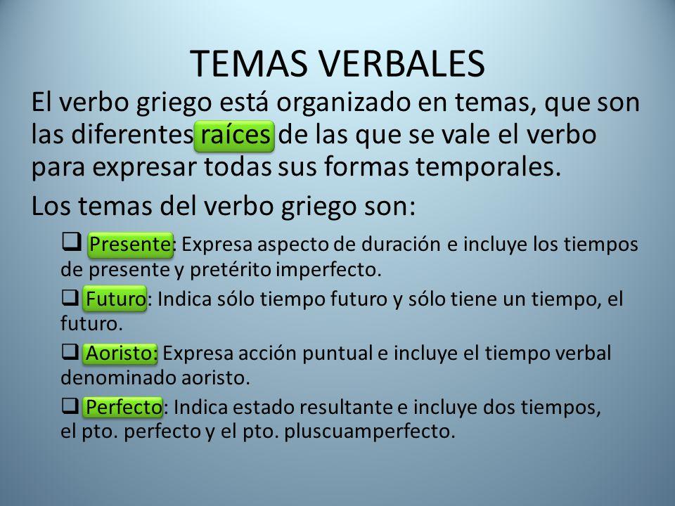 TEMAS VERBALES El verbo griego está organizado en temas, que son las diferentes raíces de las que se vale el verbo para expresar todas sus formas temporales.