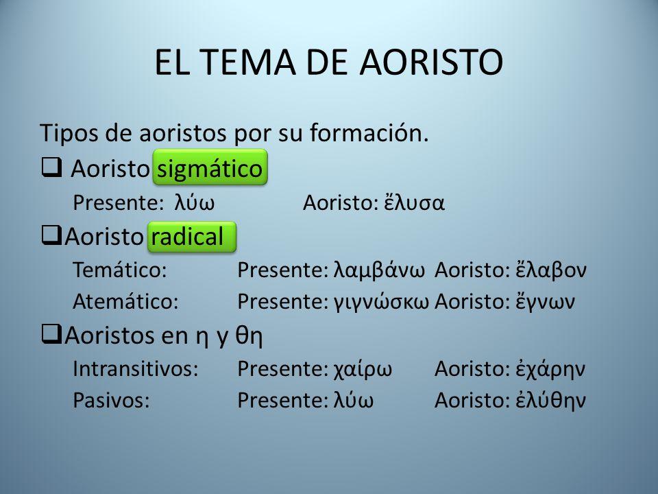EL TEMA DE AORISTO Tipos de aoristos por su formación.  Aoristo sigmático Presente: λύω Aoristo: ἔλυσα  Aoristo radical Temático: Presente: λαμβάνωA