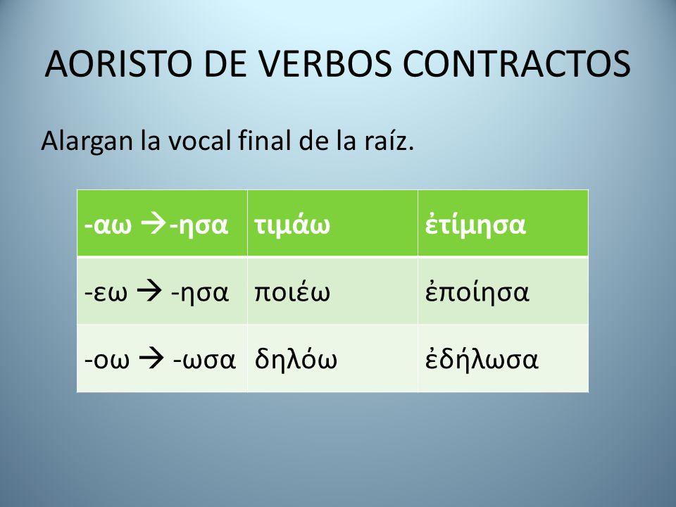 AORISTO DE VERBOS CONTRACTOS Alargan la vocal final de la raíz. -αω  -ησατιμάωἐτίμησα -εω  -ησαποιέωἐποίησα -οω  -ωσαδηλόωἐδήλωσα
