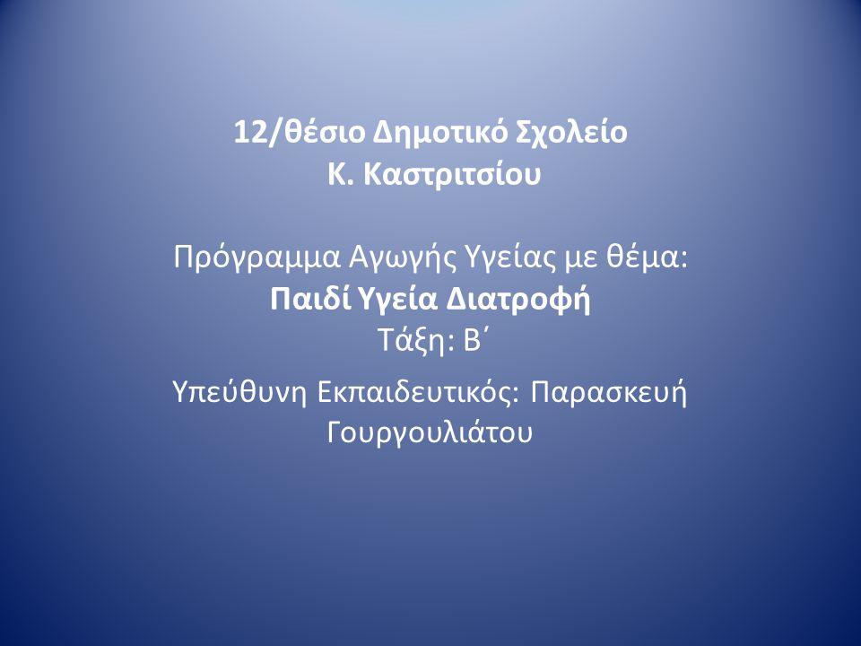 Θεματικός Άξονας: Υγιεινή Διατροφή - Στοματική Φροντίδα Υποθέματα Μεσογειακή διατροφή Συνήθειες που προάγουν την καλή φυσική κατάσταση του σώματος Στοματική υγιεινή και σχέση της με τη διατροφή Αυτοπροστασία από επικίνδυνες διατροφικές συνήθειες