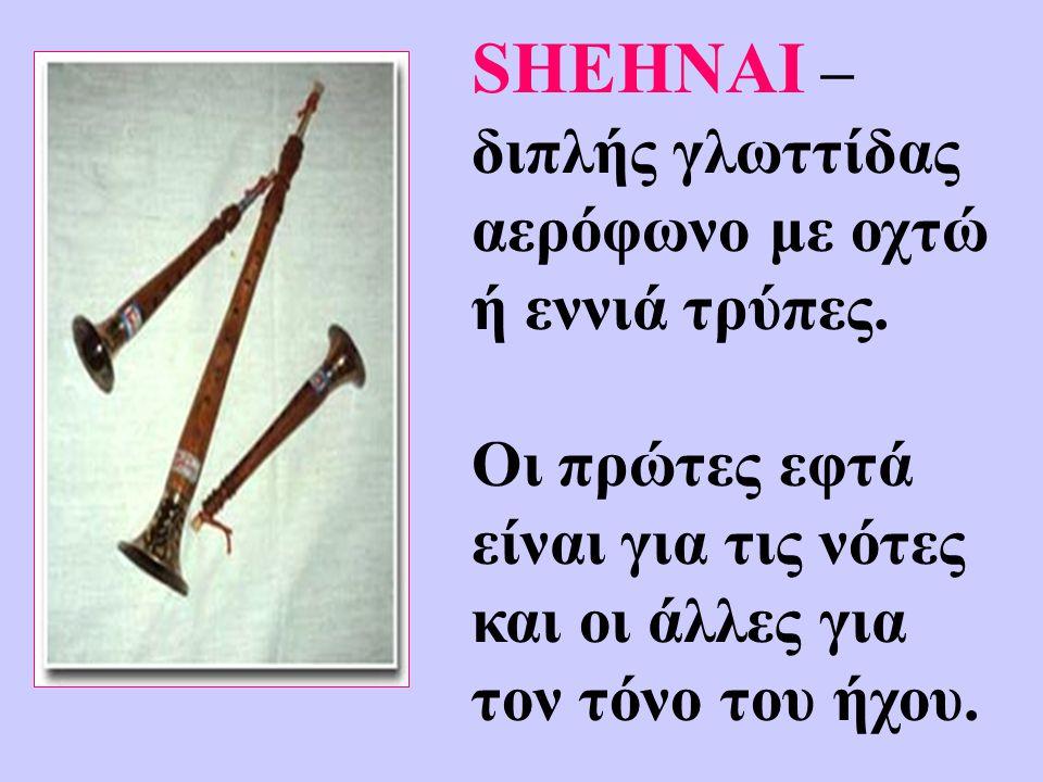 SHEHNAI – διπλής γλωττίδας αερόφωνο με οχτώ ή εννιά τρύπες. Οι πρώτες εφτά είναι για τις νότες και οι άλλες για τον τόνο του ήχου.