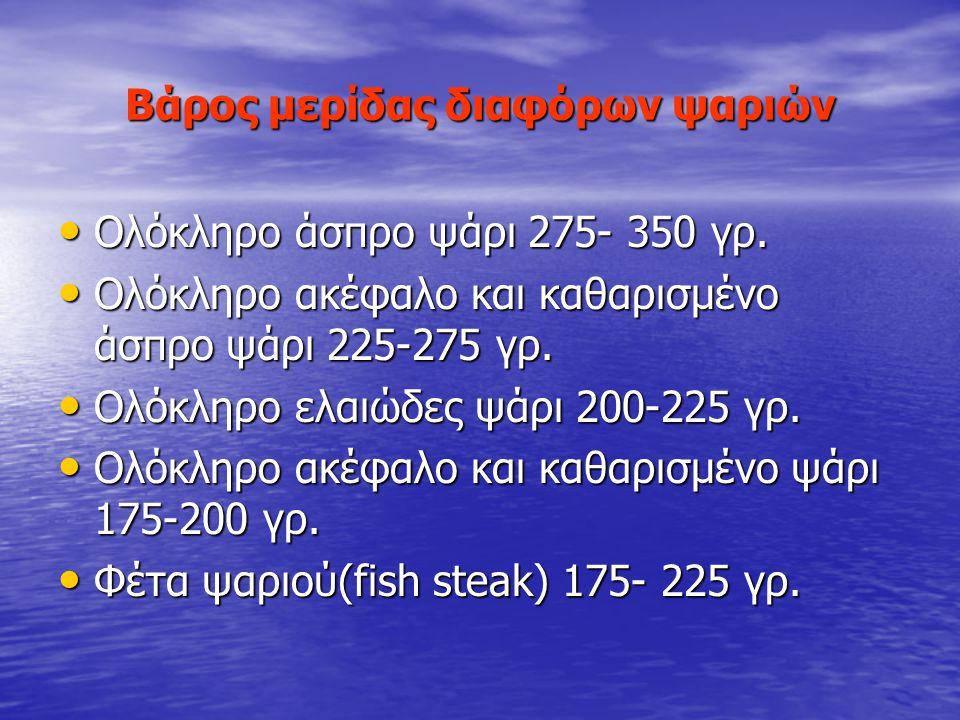 ΨΑΡΙΑ #2 Στόχοι του μαθήματος Ο μαθητής να είναι σε θέση να: Υπολογίζει το βάρος της μερίδας των ψαριών. Υπολογίζει το βάρος της μερίδας των ψαριών. Π