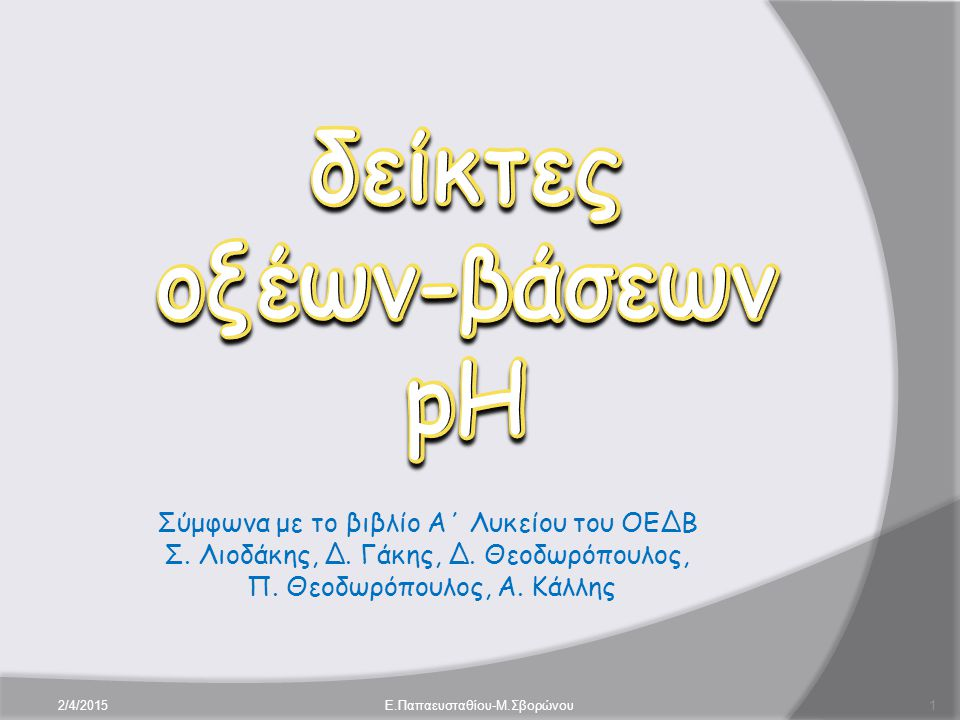 Σύμφωνα με το βιβλίο Α΄ Λυκείου του ΟΕΔΒ Σ. Λιοδάκης, Δ. Γάκης, Δ. Θεοδωρόπουλος, Π. Θεοδωρόπουλος, Α. Κάλλης 2/4/20151E.Παπαευσταθίου-Μ.Σβορώνου