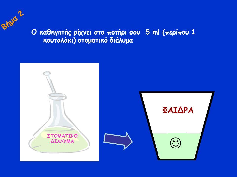 Ο καθηγητής ρίχνει στο ποτήρι σου 5 ml (περίπου 1 κουταλάκι) στοματικό διάλυμα ΦΑΙΔΡΑ ΣΤΟΜΑΤΙΚΟ ΔΙΑΛΥΜΑ Βήμα 2