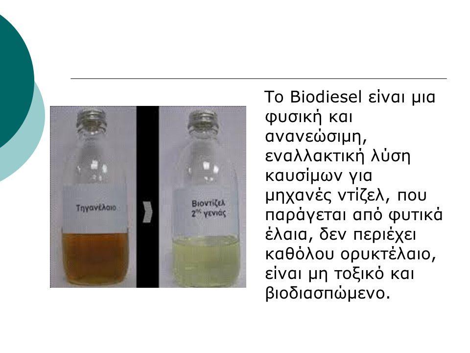 Το Biodiesel είναι μια φυσική και ανανεώσιμη, εναλλακτική λύση καυσίμων για μηχανές ντίζελ, που παράγεται από φυτικά έλαια, δεν περιέχει καθόλου ορυκτέλαιο, είναι μη τοξικό και βιοδιασπώμενο.