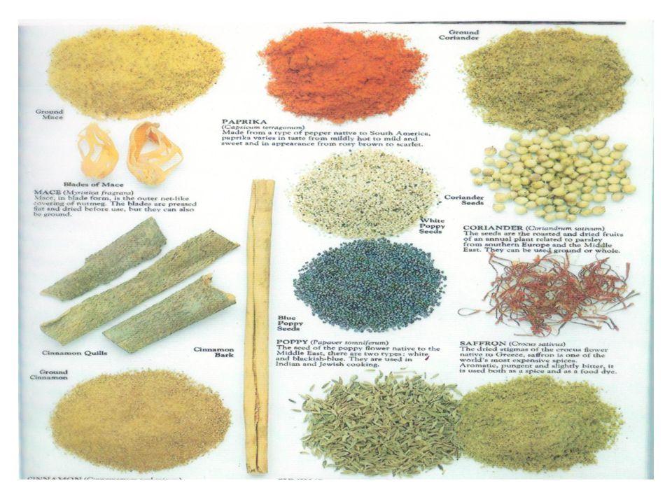 Καρυκεύματα τροφίμων ΣΤΟΧΟΙ Ο ΜΑΘΗΤΗΣ ΝΑ: 1.Σχολιάζει τη σημασία των καρυκευμάτων στη κουζίνα 2.Ορίζει τα καρυκεύματα, τα αρωματικά φυτά, τα μπαχαρικά, αρωματικά υγρά και τις χρωστικές ουσίες 3.Περιγράφει την επεξεργασία των φρέσκων και αποξηραμένων αρωματικών φυτών 4.Κατονομάζει διάφορα καρυκεύματα τροφίμων