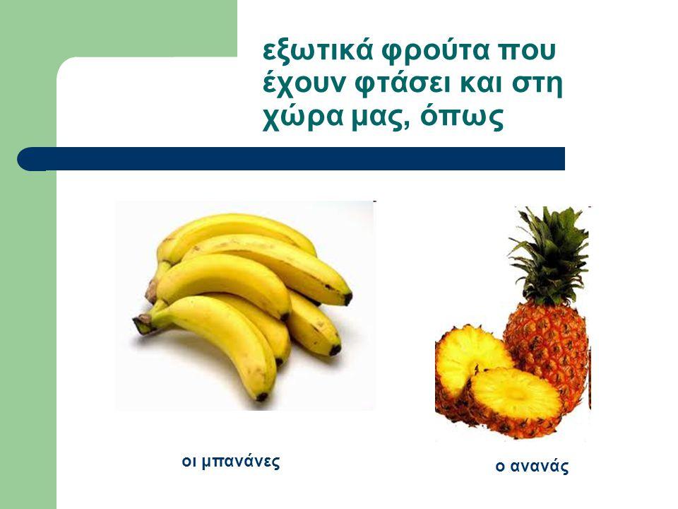 εξωτικά φρούτα που έχουν φτάσει και στη χώρα μας, όπως οι μπανάνες ο ανανάς
