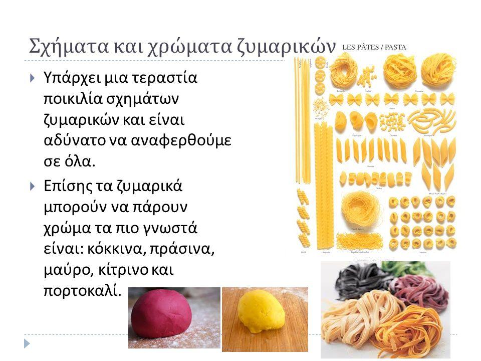 Σχήματα και χρώματα ζυμαρικών  Υπάρχει μια τεραστία ποικιλία σχημάτων ζυμαρικών και είναι αδύνατο να αναφερθούμε σε όλα.  Επίσης τα ζυμαρικά μπορούν