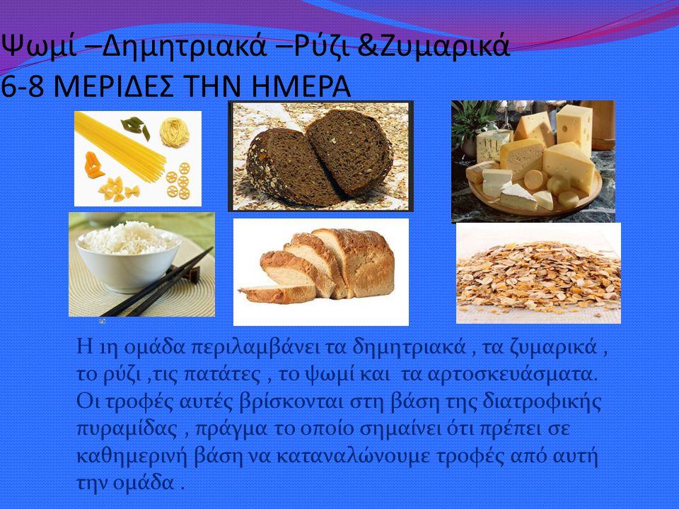 Ψωμί –Δημητριακά –Ρύζι &Ζυμαρικά 6-8 ΜΕΡΙΔΕΣ ΤΗΝ ΗΜΕΡΑ Η 1η ομάδα περιλαμβάνει τα δημητριακά, τα ζυμαρικά, το ρύζι,τις πατάτες, το ψωμί και τα αρτοσκε