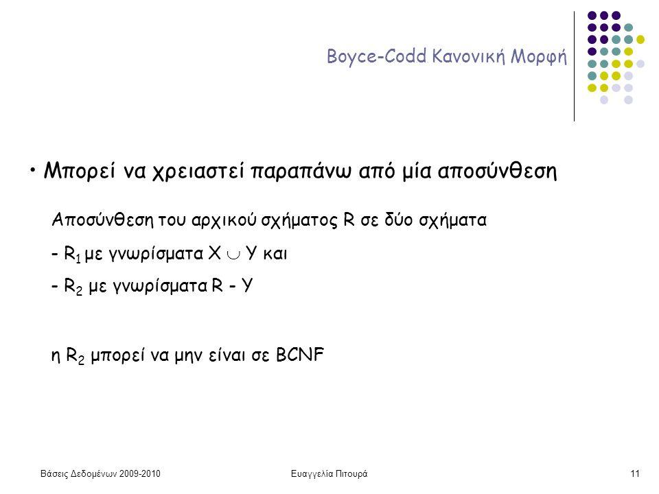 Βάσεις Δεδομένων 2009-2010Ευαγγελία Πιτουρά11 Boyce-Codd Κανονική Μορφή Μπορεί να χρειαστεί παραπάνω από μία αποσύνθεση Αποσύνθεση του αρχικού σχήματος R σε δύο σχήματα - R 1 με γνωρίσματα Χ  Y και - R 2 με γνωρίσματα R - Y η R 2 μπορεί να μην είναι σε BCNF